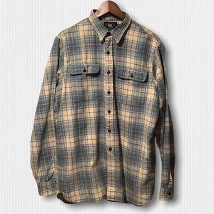New RRL Blue & Cream Cotton Flannel Plaid Shirt L